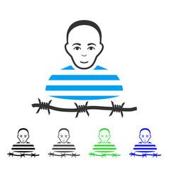 Cheerful camp prisoner icon vector