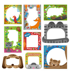 Cute happy birthday pets photo frame vector