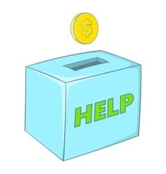 Donation box icon cartoon style vector
