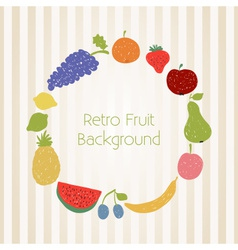 Doodle fruit circle in retro colors vector image