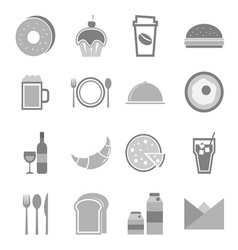 Food icons set on white background vector image vector image