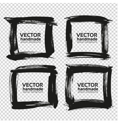 Four square frames from black abstract textured vector