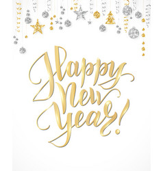 happy new year card with hand written lettering vector image vector image