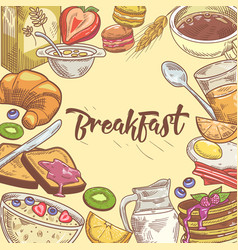 healthy breakfast hand drawn design with sandwich vector image vector image