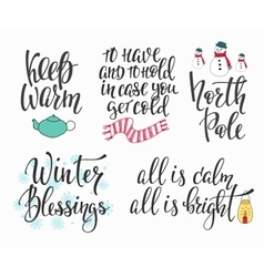 Hello Winter season typography set vector image