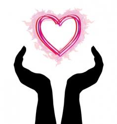 Human hands caring heart vector