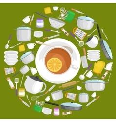 Kitchenware icons setCartoon kitchen vector image vector image