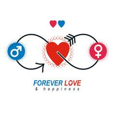 Love couple conceptual logo unique symbol male vector