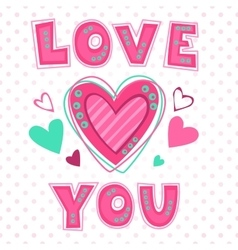 Love you lettering template vector image