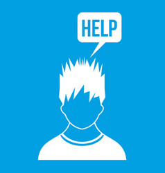 Man needs help icon white vector