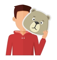 Man with bear mask flat design vector