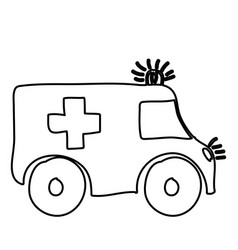 monochrome hand drawn contour of ambulance vector image vector image