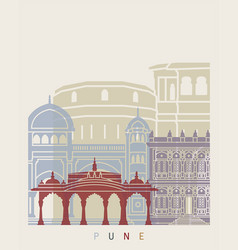 pune skyline poster vector image