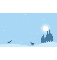 Reindeer on the hill christmas landscape vector
