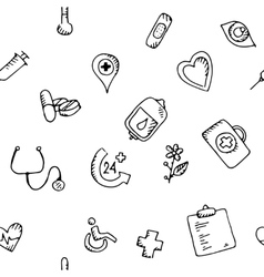 Seamless pattern medical icons set vector