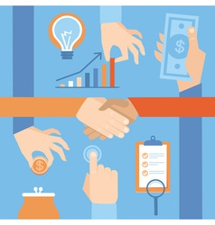 set of hands - clients purchasing work in flat ret vector image