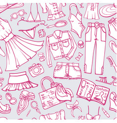 Summer fashion seamless patternwoman weardoodle vector