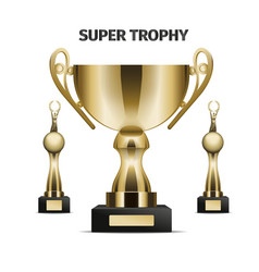 super trophy cups realistic set vector image vector image