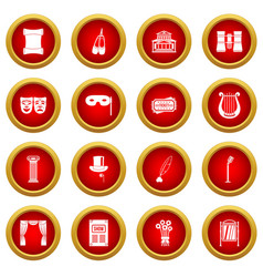 Theater icon red circle set vector