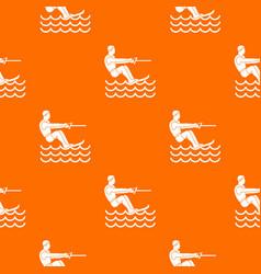 Water skiing man pattern seamless vector