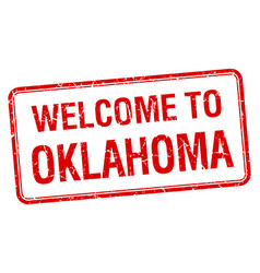 Welcome to oklahoma red grunge square stamp vector