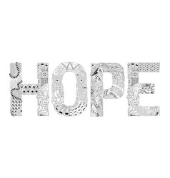 Word hope for coloring decorative vector