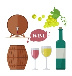 Wine consumption icon set viniculture production vector