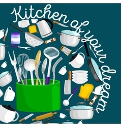 Kitchenware icons setcartoon kitchen vector