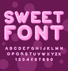 Sweet font pink letters lollipops lettring abc of vector