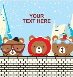 Cute bear in the christmas day vector