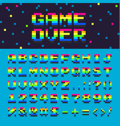3d alphabet space rainbow oldschool font vector image