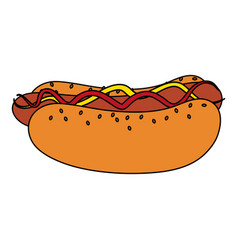 Color image cartoon hot dog with mustard and vector