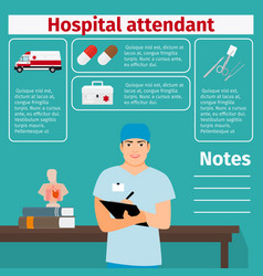 Hospital attendant and medical equipment icons vector