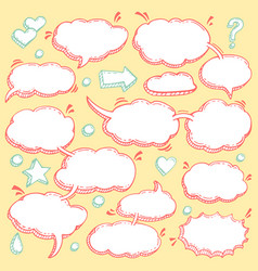 Collection of hand drawn speech bubbles vector