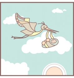 baby card with flying stork vector image