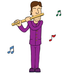Man playing flute vector