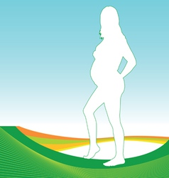 Pregnant girl with green outline vector