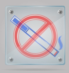 Transparent sign no smoking on the plate vector