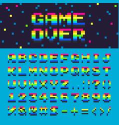 3d alphabet space rainbow oldschool font vector