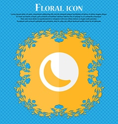 Moon floral flat design on a blue abstract vector