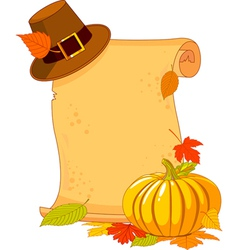 Thanksgiving day scroll with pilgrim hat and pumpk vector