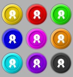 Award medal icon sign symbol on nine round vector