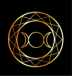 Gold wiccan symbol triple goddess vector