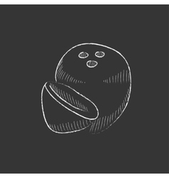 Coconut drawn in chalk icon vector