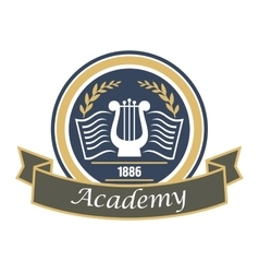 Music and arts academy badge with lyre vector