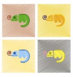 Assembly flat shading style icons reptile vector