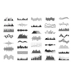 black and white charts and sound waves indicators vector image