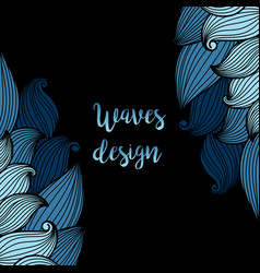 Blue waves on black background card vector