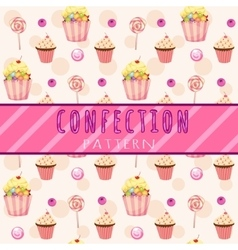 Cakes pattern on a pink background vector