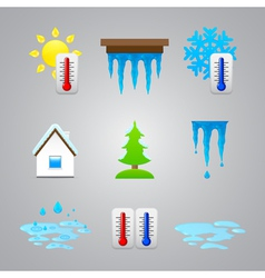 different temperature color icons vector image vector image
